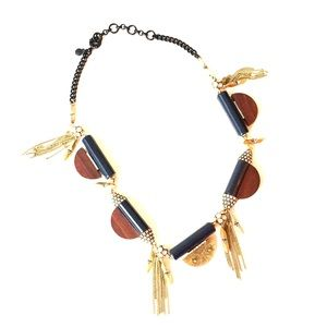J.Crew Wooden Disk Tassel Necklace